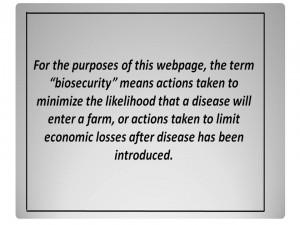 6 Biosecurity defines