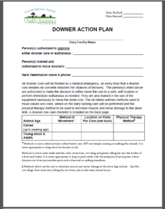 downer cow action plan