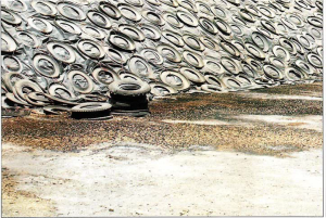 silage tires and water