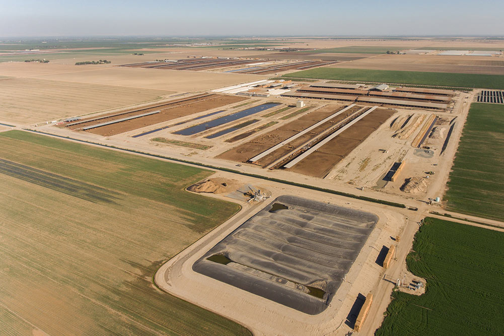 Aerial view of dairy farm