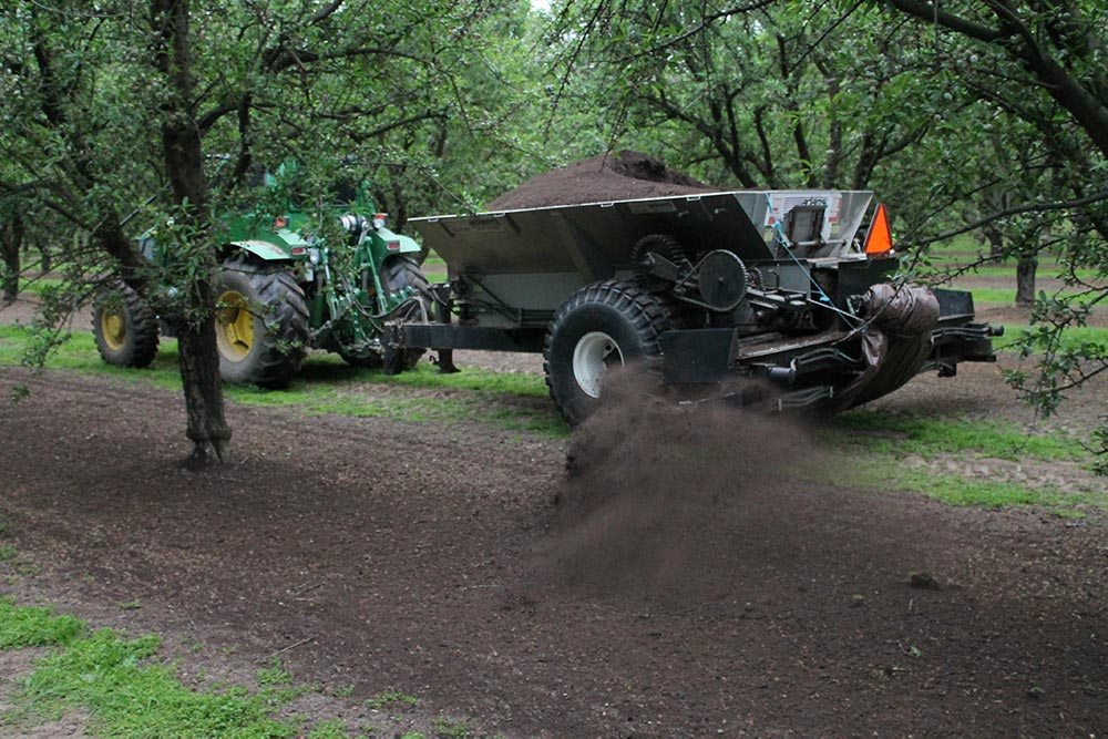 dairy manure and almond wood compost dispersal